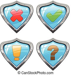 Shields with signs - Set of a shields with different signs