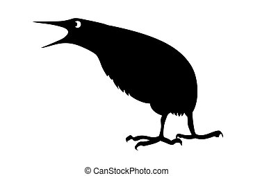 vector silhouette bittern on white background