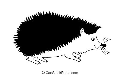 vector silhouette hedgehog on white background