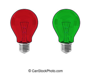 3d render of red and green lightbulbs