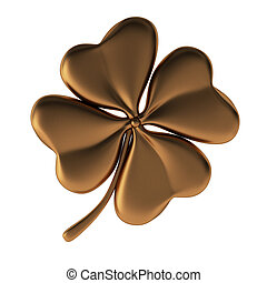 3d render of bronze clover