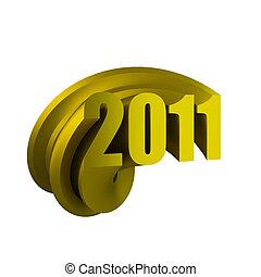 3d render of gold 2011 logo