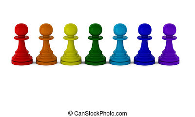 3d render of rainbow colored pawns