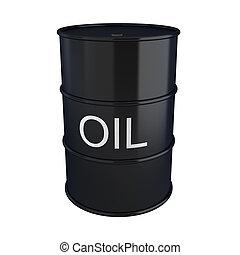 3d render of black oil barrel on white