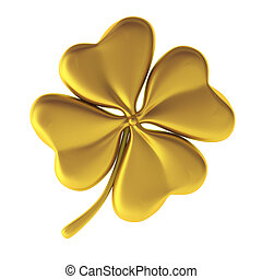 3d render of golden clover