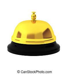 3d render of golden reception bell