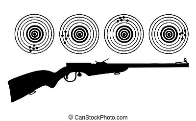 vector silhouette of the rifle on white background