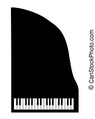 vector silhouette grand piano on white background