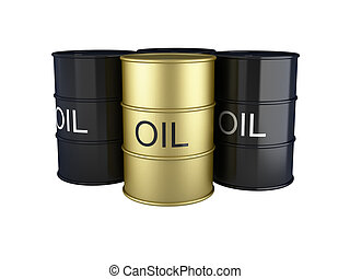3d render of black and gold oil barrels on white