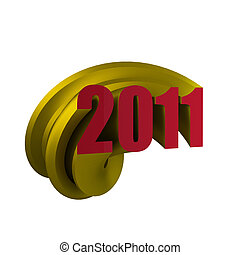 3d render of gold and red 2011 logo
