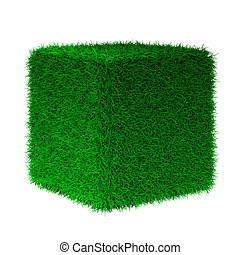 3d render of grass cube