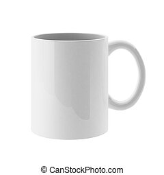 3d render of white mug