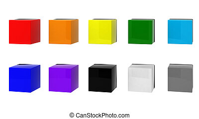 3d render of 10 cubes