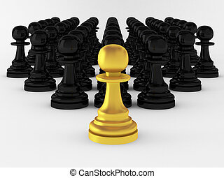 3d render of many pawns