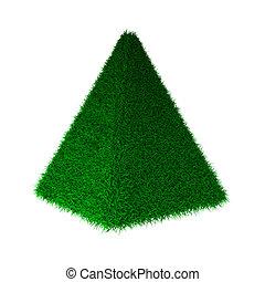 3d render of grass pyramide