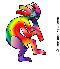 Colorful Kokopelli Silhouette - Kokopelli fertility god...