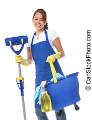 Cute Woman Maid With Mop - A cute maid cleaner woman with...