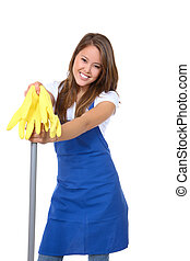 Cute Maid With Mop - A cute maid cleaner with mop and gloves