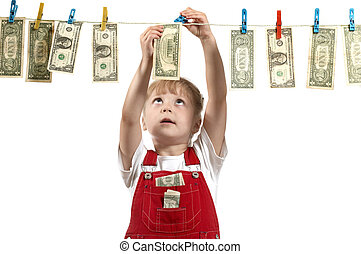 Hanging up dollars - An image of girl with dollars