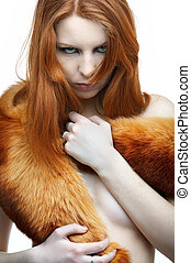 model in fur scarf - portrait of beautiful redhead pale...