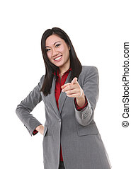 Asian Business Woman Pointing - Pretty, young asian business...