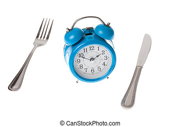 Meal Time - A knife and fork and alarm clock displaying the...