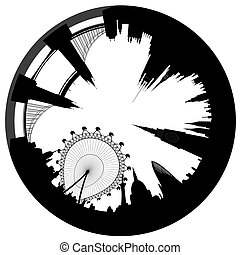London skyline as a circle - vector - Vector illustration of...