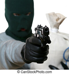 Thief - An image of a man in mask with gun and bag