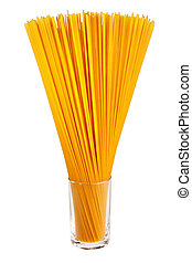 Uncooked italian spaghetti in glass isolated over white background.