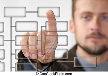 Bearded man - A businessman showing virtual keyboard