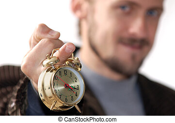 Fuck-time - A man keeping an alarm clock in his finger