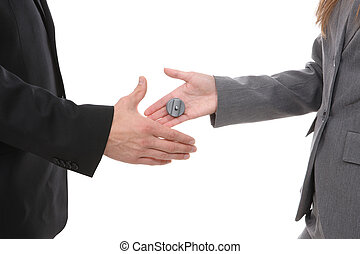 Business Handshake Joke - Business team shaking hands with a...