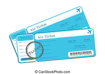 Flight Ticket - illustration of flight ticket on isolated...