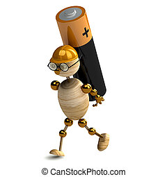 3d wood man is carring battery on white