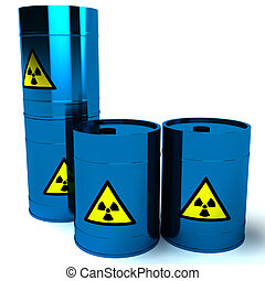 3d blue barrel radioactive waste isolated on white