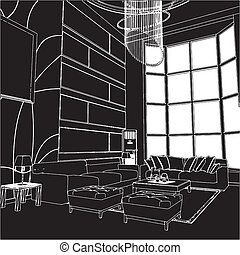 Modern Living Room Interior Vector
