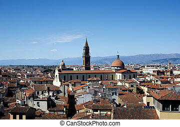 Roofs of Firenze, view at church Santo Spirito, skies and...