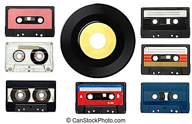 music audio tape and vinyl disc vintage - collection of...
