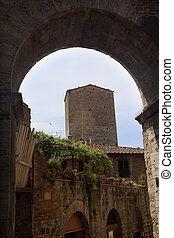 Medieval Arch Stone Tower Medieval Town Pink Flowers San...