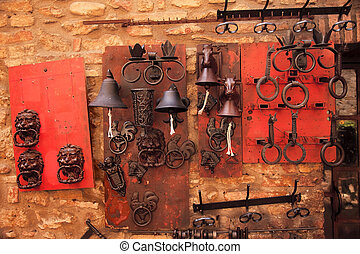 Brass Door Knockers Bells Medieval Stone Town San Gimignano...