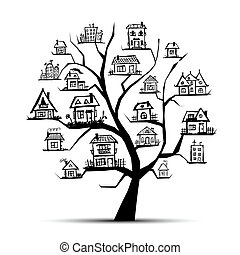 Tree with houses on branches
