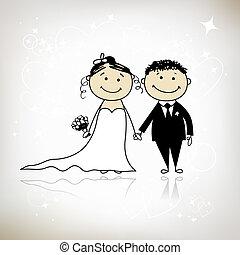 bröllop, ceremoni, -, brud, Brudgum, tillsammans, din,...