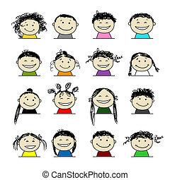 sorrindo, pessoas, ícones, seu, desenho