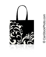 Shopping bag design, floral ornament