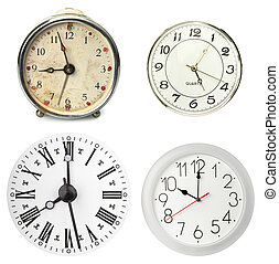 Various clocks, isolated on white