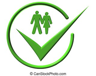 Designation - Image of man and a woman, web-icons, mark, 3d...