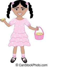 Pink Dress Flower Girl - Vector of cute little girl with...