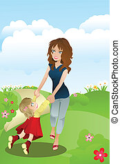 Mother and daughter - A vector illustration of a mother and...