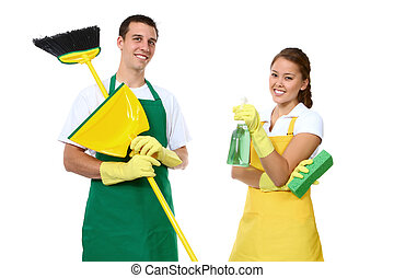 Man and Woman Cleaning - An attractive man and woman holding...