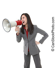 Business Woman with Megaphone - Pretty business woman...